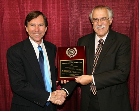 Griffin award presented to Dr. Fox by Dr. Christian Newcomer at AALAS, 2008